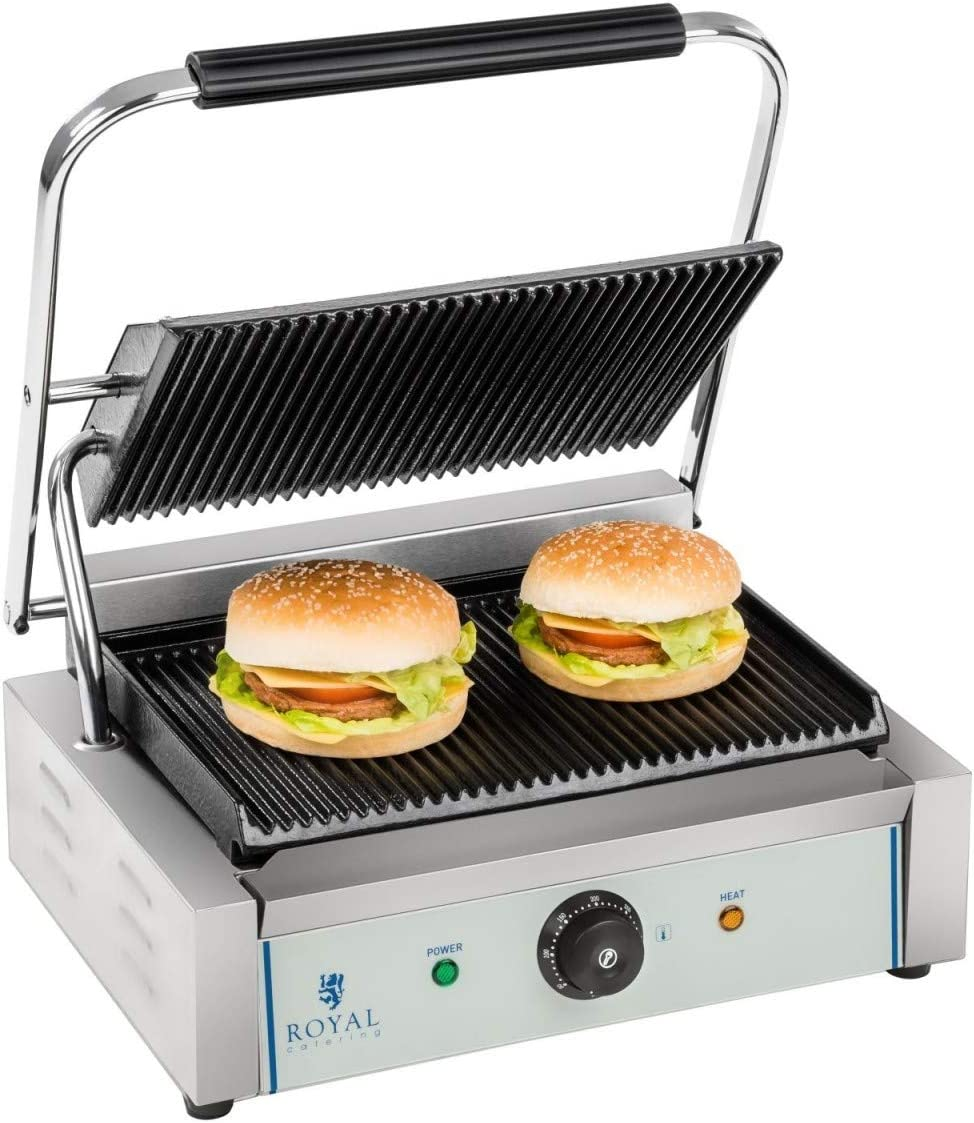 Royal Catering Plancha Grill De Contacto RCKG-2200-G (Acero inoxidable/hierro fundido esmaltado, Placa ondulada, 2200 W)