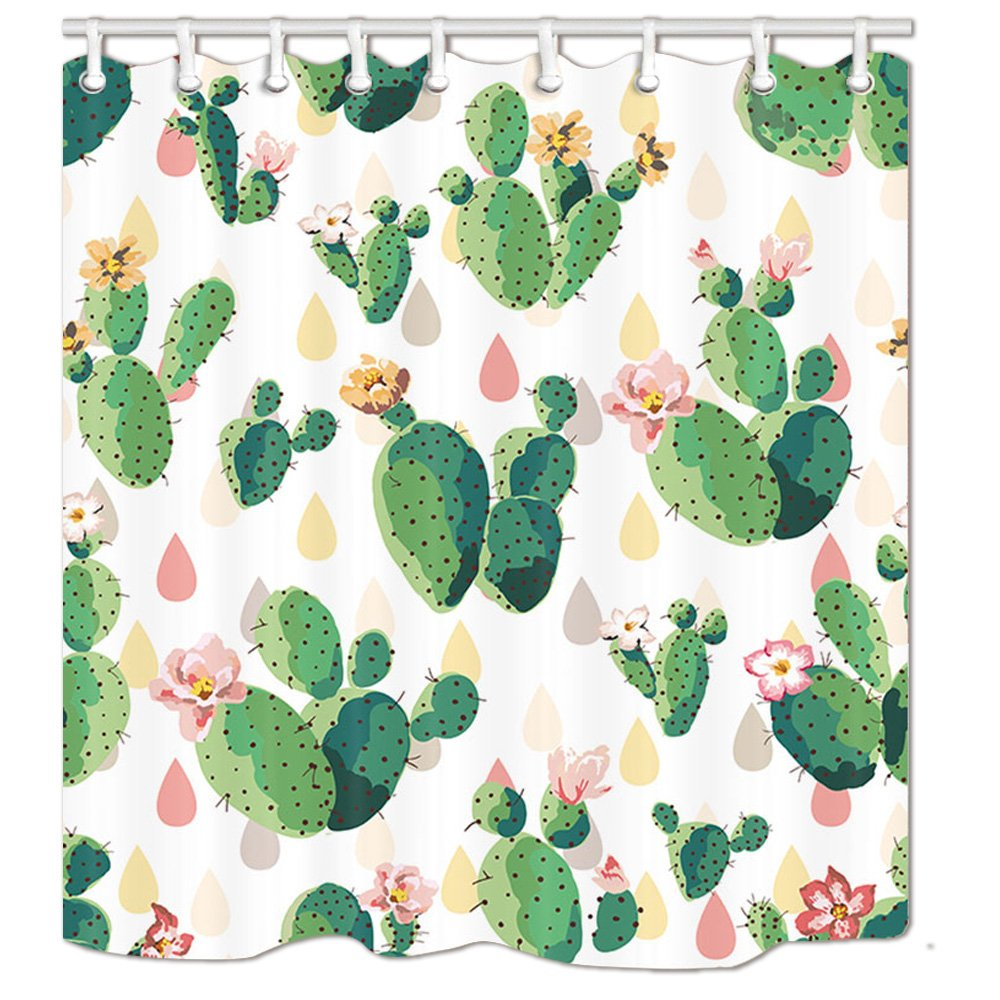 HNMQ Tropical Cactus Shower Curtain, Tropical Desert Pink Flowers and Prickly Plants, Bath Curtains Hooks Included, 69X70 inches … 69X70 inches …
