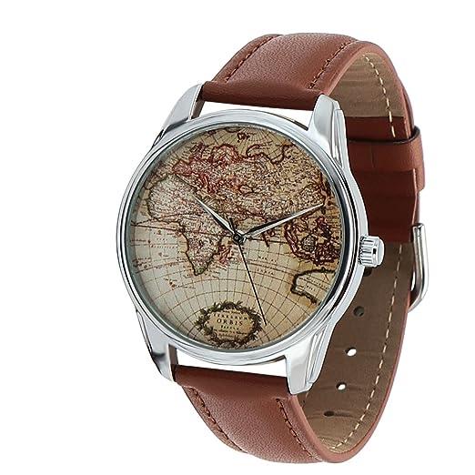 Reloj para hombre, diseño de esfera del mundo, correa marrón: Amazon.es: Relojes