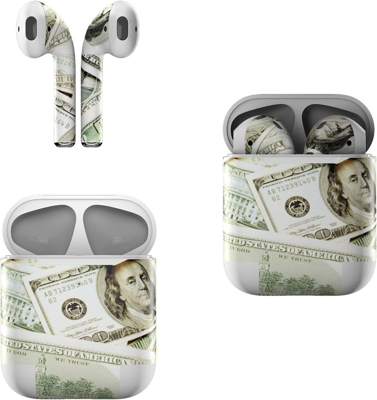 Skin Decals for Apple AirPods - Benjamins - Sticker Wrap Fits 1st and 2nd Generation