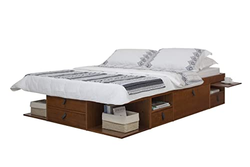Memomad Bali Storage Platform Bed with Drawers Queen Size, Caramel