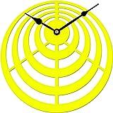 Sehaz Artworks Circles Round Wooden Wall Clock (25.5 cm x 25.5 cm x 3 cm, Yellow)