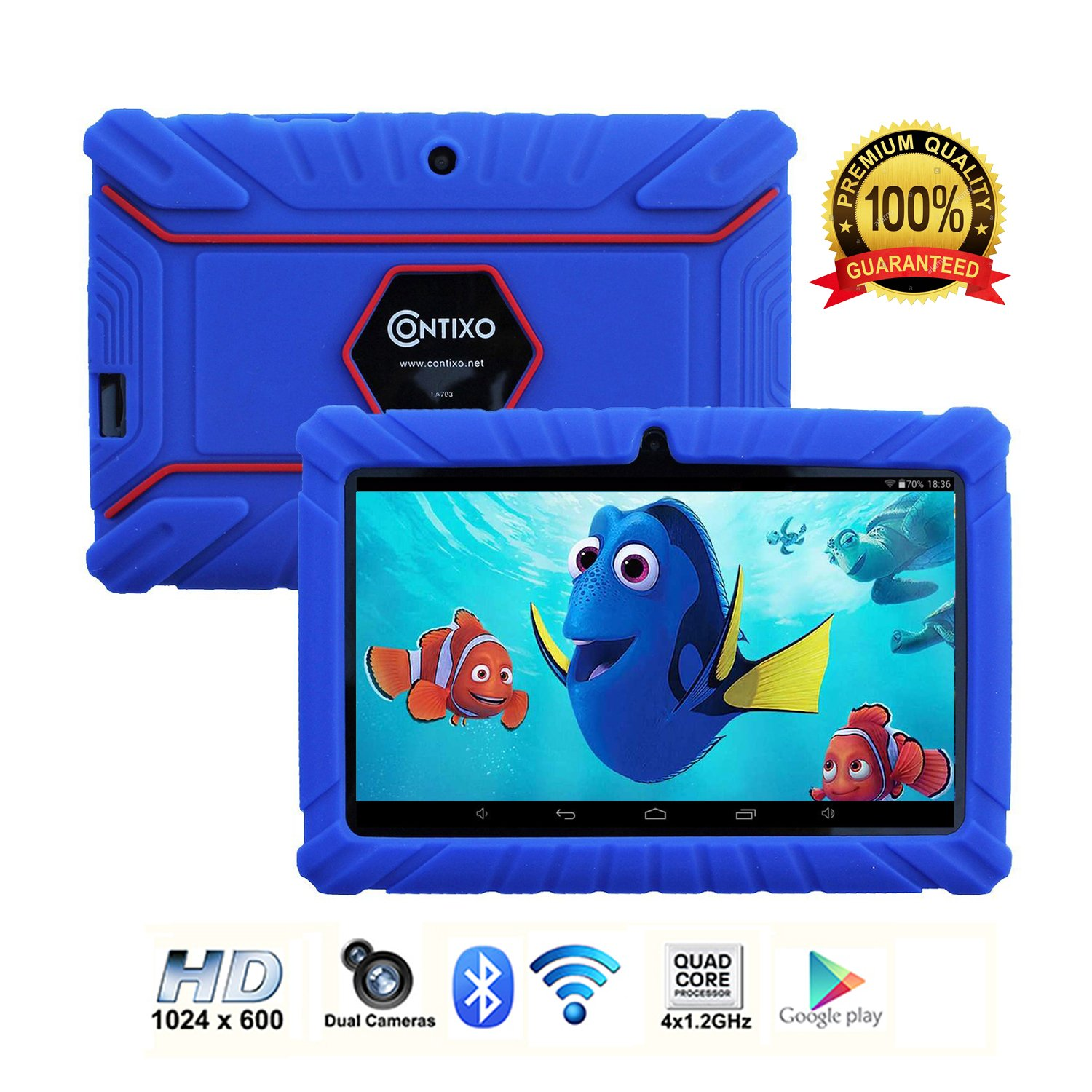 Contixo Kids Tablet K2 | 7'' Display Android 6.0 Bluetooth WiFi Camera Parental Control for Children Infant Toddlers w/ Free Tablet Case (Dark Blue) by Contixo