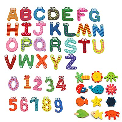 Simuer Wooden Cartoon Fridge Magnet Novelty Animals Numbers Letters Alphabet Wooden Fridge Magnet Sticker Cute Funny Refrigerator Sticker for Learning & Education 48Pcs/set: Oficina y papelería