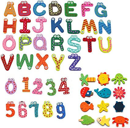 Simuer Wooden Cartoon Fridge Magnet Novelty Animals Numbers Letters Alphabet Wooden Fridge Magnet Sticker Cute Funny Refrigerator Sticker for Learning & Education 48Pcs/set: Amazon.es: Oficina y papelería