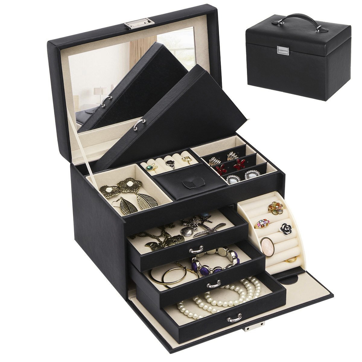 BEWISHOME Jewelry Box Organizer Case Display Storage W/Travel Case Large Mirrored 10 1/4'' x 7 1/16'' x 6 11/16'' Black PU Leather for Girls Women SSH53B