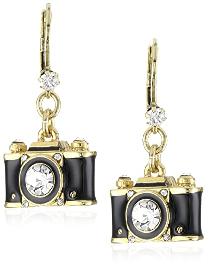 "Betsey Johnson ""Royal Engagement"" Black Camera Drop Earrings"