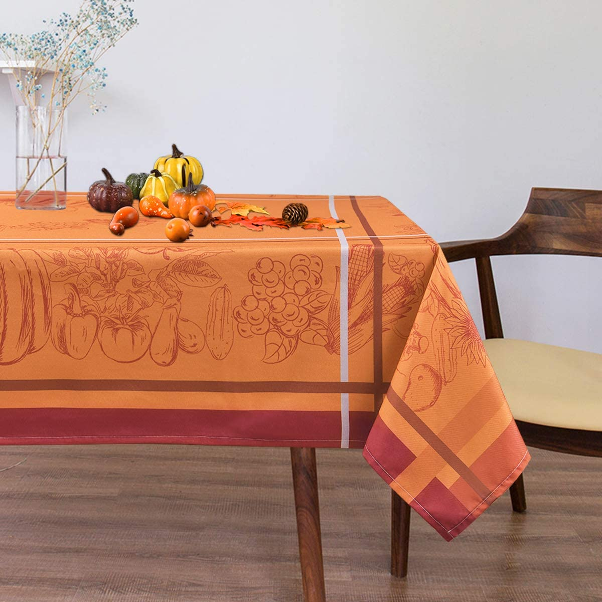 Amazon Com Sunm Boutique Table Cloth Autumn Harvest And Thanksgiving Tablecloth Pumpkin Waterproof Tablecover For Thanksgiving Dinner Parties Orange 55 55 Inches Kitchen Dining
