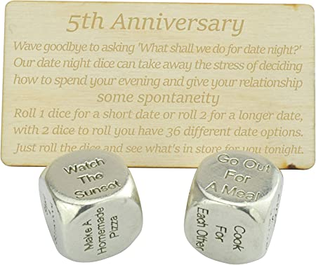 5 Year Anniversary Metal Date Dice Wood Engraved Instructions Create A Unique 5th Anniversary Date Idea Amazon Co Uk Kitchen Home