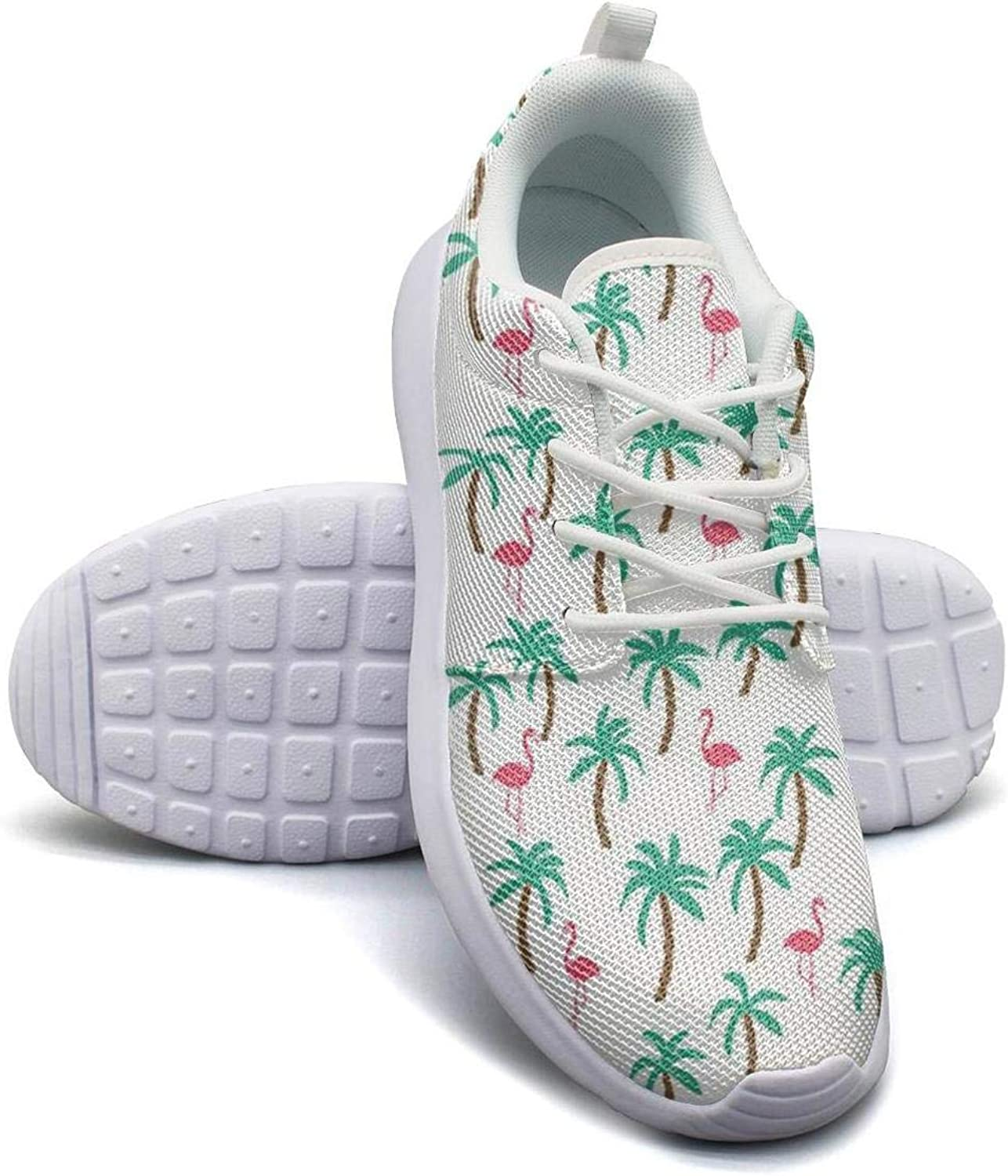 Tropical palm trees flamingos mesh lightweight shoes for women lace up sports baseball Sneakers shoes