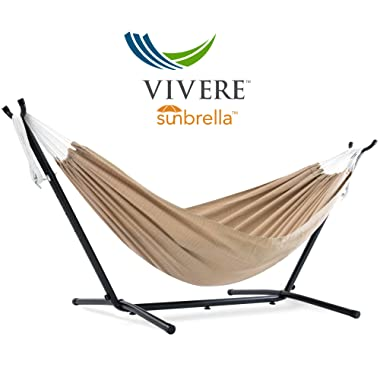 Vivere  Double Sunbrella Hammock with Space Saving Steel Stand, Sand (450 lb Capacity - Premium Carry Bag Included)
