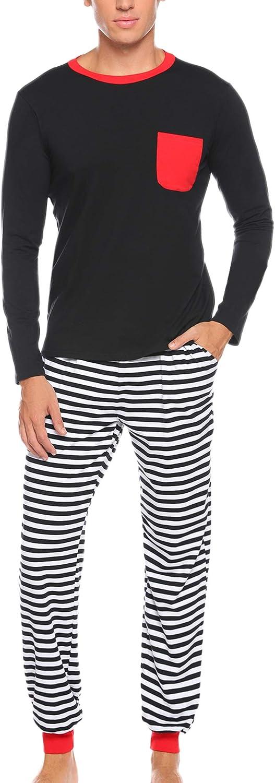Aibrou Mens Matching Stripe Pajamas Set Long Sleeve Striped Sleepwear Pjs Sets