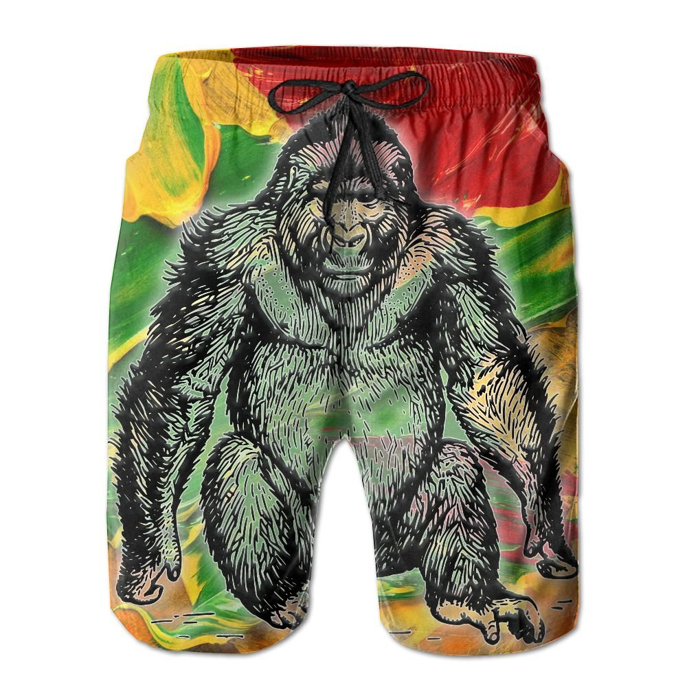 GYang Mens Beach Shorts Gorilla Colourful Summer Printed Swim Breathable Quick-Drying Shorts Swim Trunks Boardshorts