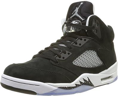 Nike Mens Air Jordan 5 Retro Oreo Suede Basketball-Shoes