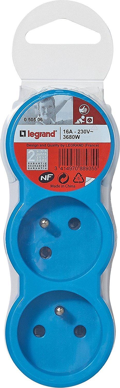 Legrand LEG50508 Fiche multiprise 3 prises 2 p/ôles avec terre 3 sorties frontales 16 A Noir