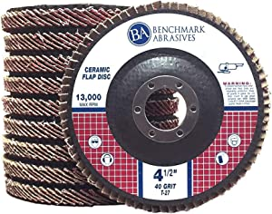 """10 Pack - 4.5"""" x 7/8"""" Ceramic Flap Discs T27 (Flat) for Stainless Steel & Heat Sensitive Metals (40 Grit)"""