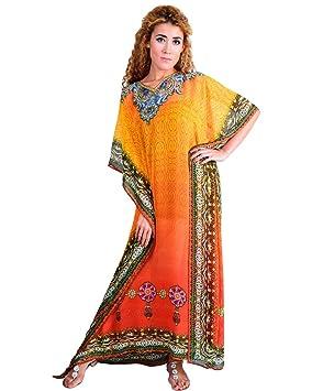 Bayside Barcelona Naranja Vestido de Baño de Traje de Baño de Verano Kimono Largo Kaftan de