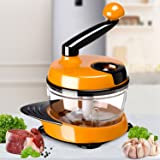 Migecon Manual Food Processor Vegetable Chopper Meat Grinder Multifunctional Mixer Blender to Chop Fruits Nuts Herbs Onions Garlics 6 Cups Yellow