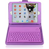 PU Leather Bluetooth Wireless Folding Keyboard Case Cover With Stand For Apple iPad mini (Purple)