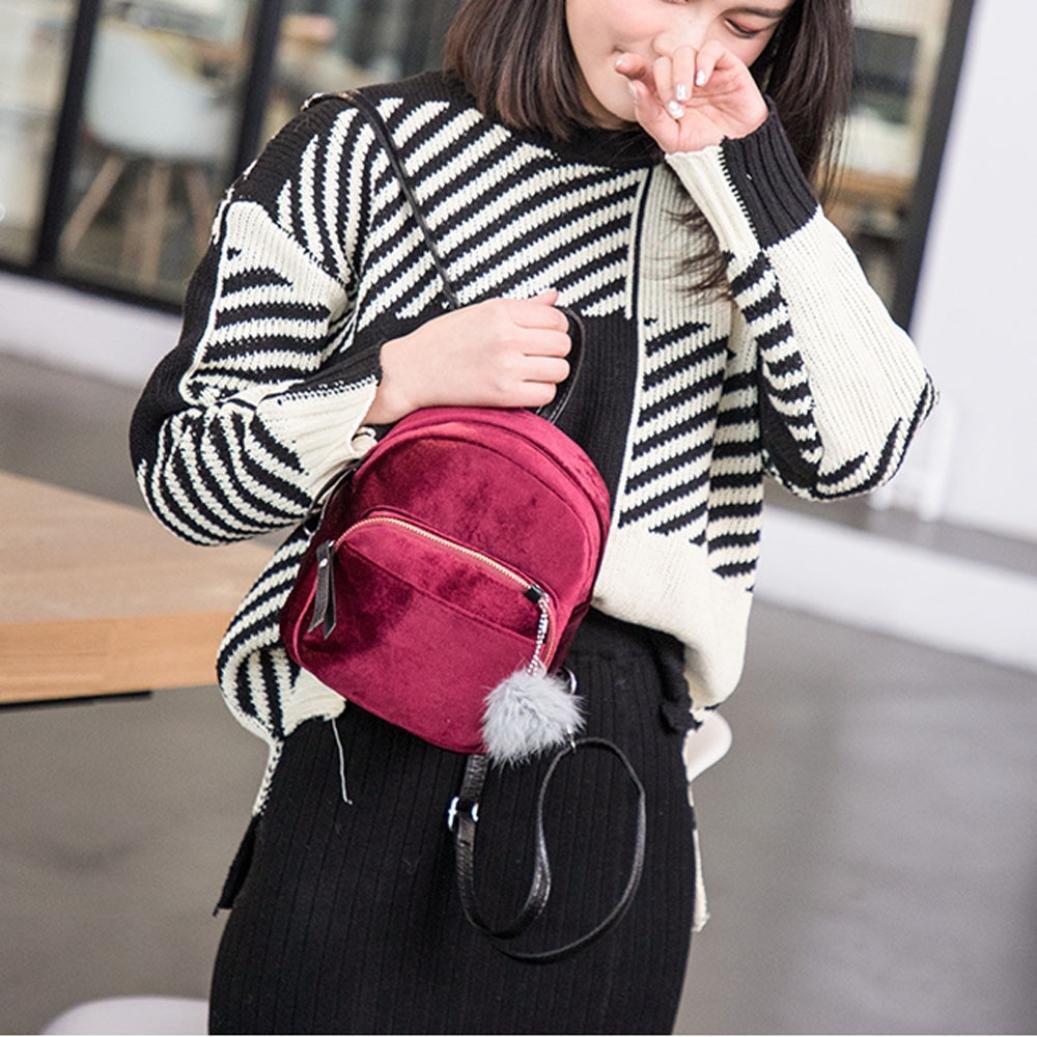 DDLBiz Mini Fur Ball Backpack Fashion Shoulder Bag Solid Women Girls Travel School Bags (Wine Red)
