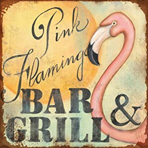 SmartCows Pink Flamingo Bar & Grill Retro Metal Printing Wall Poster Tin Sign Wall Painting Art Metal Decor Plaques 8x8 Inches