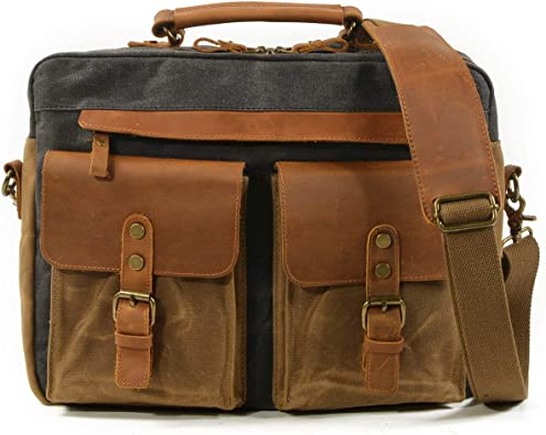 LUVE Mens Classic Laptop Business Casual Messeager Bag Briefcase