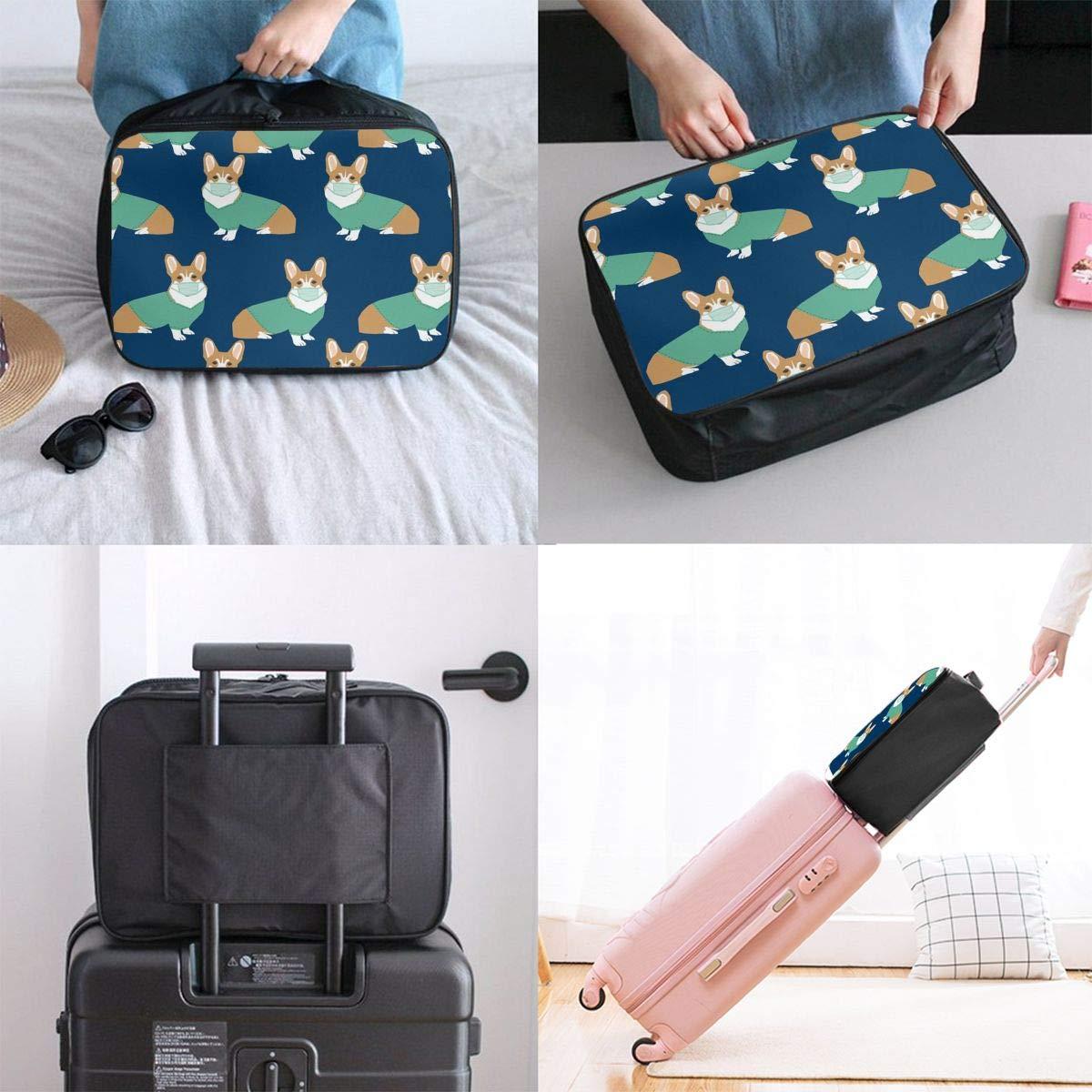Travel Duffel Bag Waterproof Fashion Lightweight Large Capacity Portable Luggage Bag Corgi In Scrubs