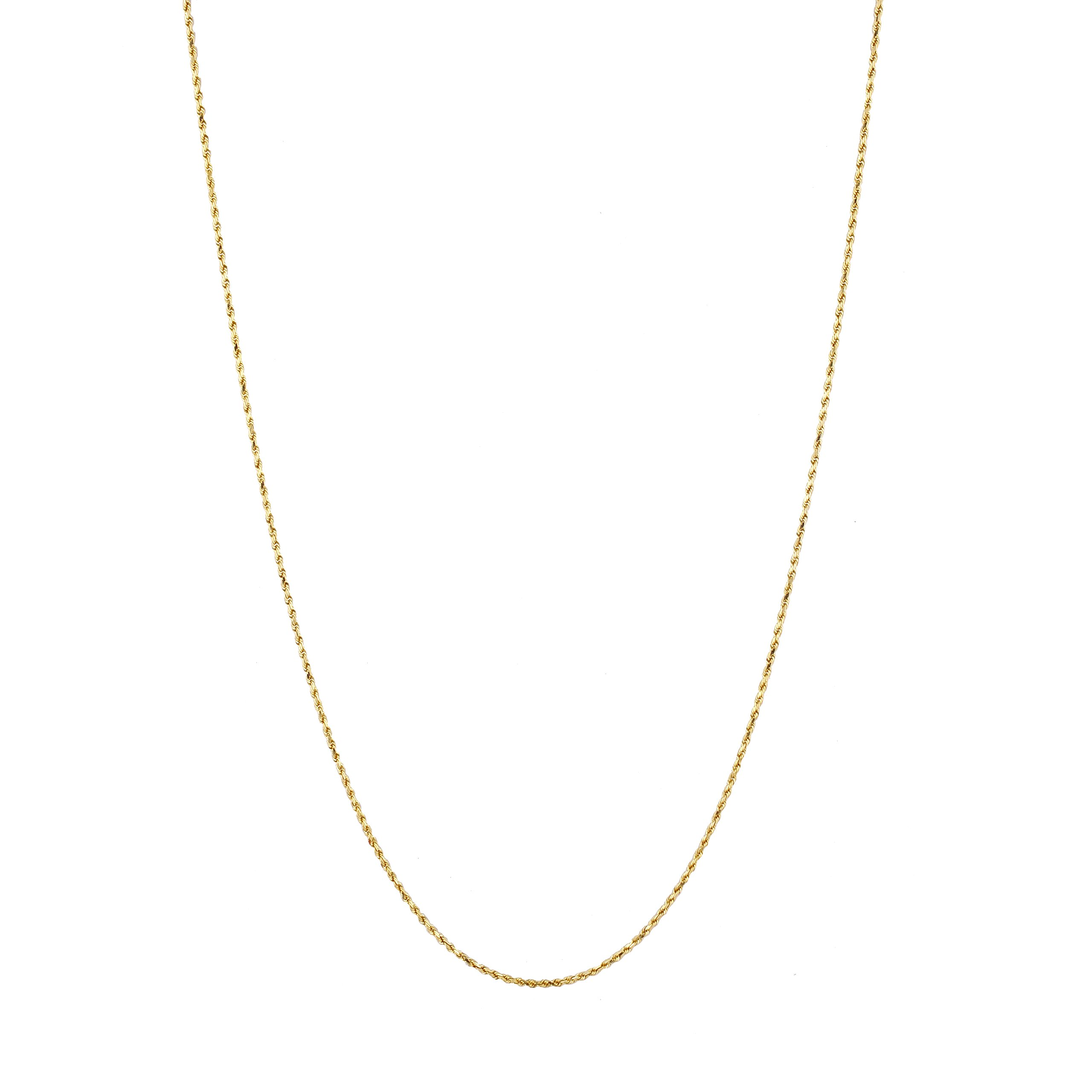 IcedTime Solid 14K Yellow Gold 1.5mm Wide Rope Chain Diamond Cut Anklet with Lobster Clasp 10'' long by IcedTime (Image #3)