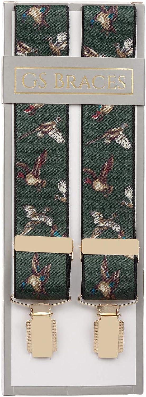 Green Flying Ducks Pheasants Trouser Braces Clip Suspenders XL XXL Extra Long