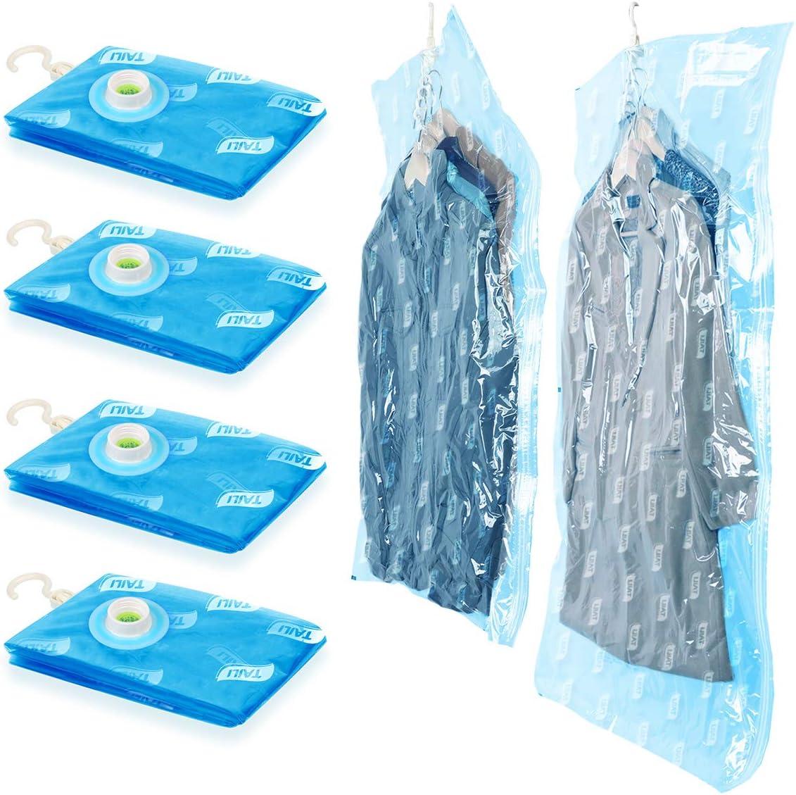 Confezione da 4 Piumini for Guardaroba Sacchi for sottovuoto for Cappotto Borse per la Selezione di Grandi Capi di Abbigliamento 135*70cm(2 Pezzi)+105*70cm(2 Pezzi ) Sacchetti di Compressione
