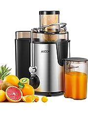 Centrifuga Aicok Estrattore di Succo a Freddo con 65MM Bocca Larga e 2 Contenitori, Acciaio Inossidabile a Usi Alimentari Senza BPA, Funzione Anti-Intasamenti, Spazzola per Facile Pulizia