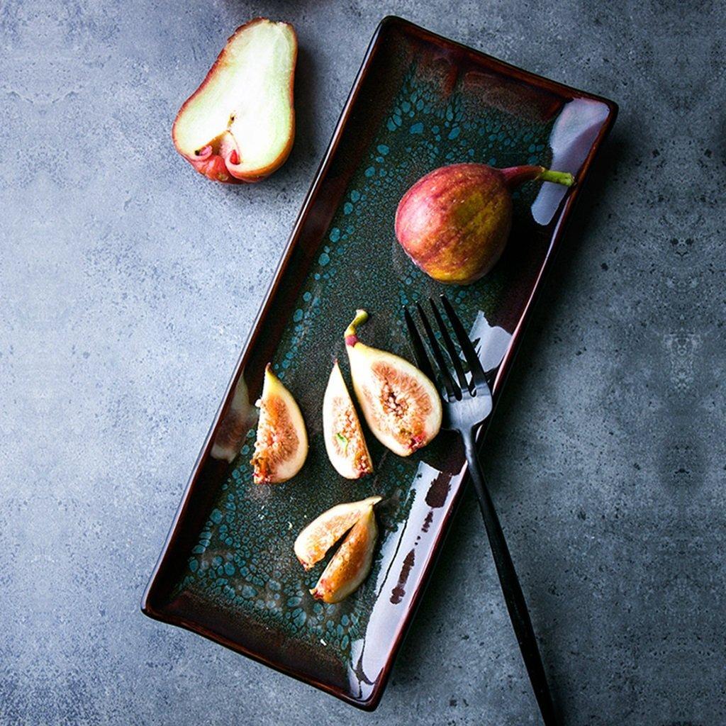 He Xiang Ya Shop Sushi plate fruit plate ceramic gradient strips plate dessert plate dessert plate Household plate