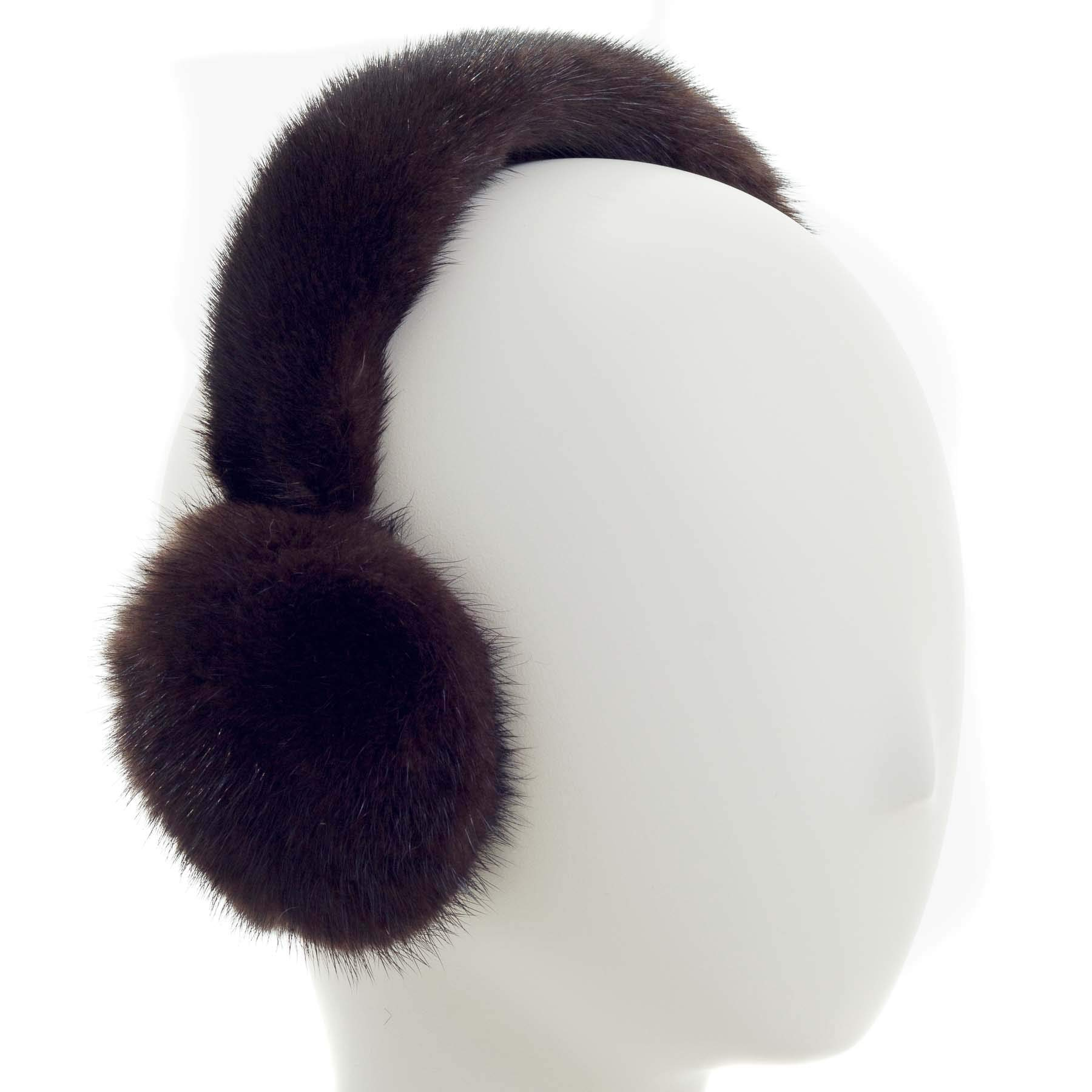 Surell Mink Earmuff with Fur Halo Band - Winter Ear Muffs - Cold Weather Fashion (Mohagony)