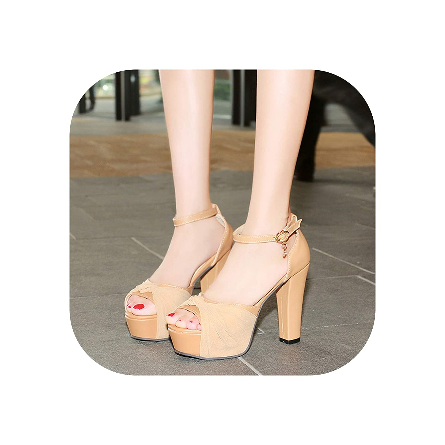 Apricot Wedding shoes Thick High Heels Peep Toe Summer Sandals Ladies Ankle Strap
