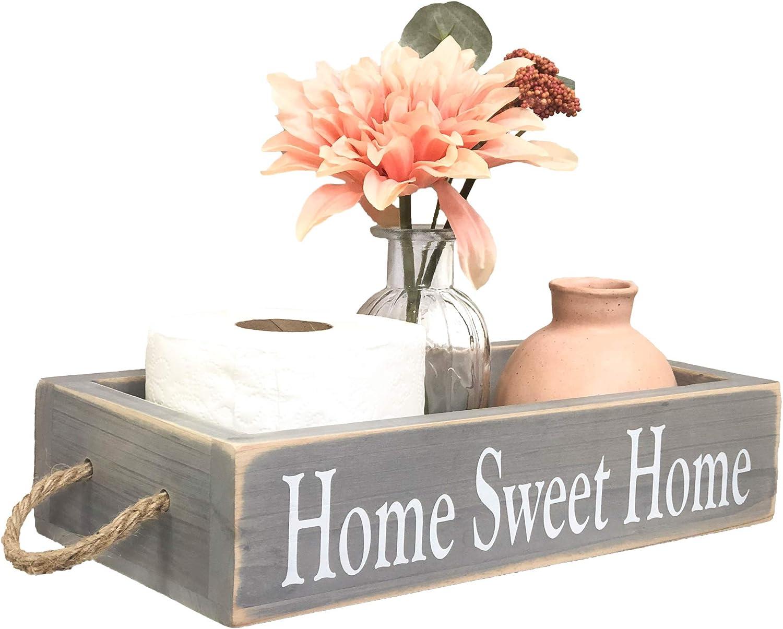 Cazoovia Premium 2 Phrase Rustic Home Décor Box - 4 Colors - Farmhouse Bathroom Decorations - Fir Wood - Rope Knot Handles - Mason Jar/Succulents/Photos