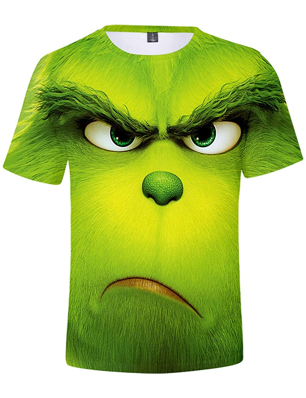 Grinch T Shirt Men and Women Teen Boys Girls Grinch Big Face 3D Digital Printed Shirt Unisex Short Sleeve Ladies Movie Inspired Cool Tee Adults Casual Sport Tops Christmas Clothing