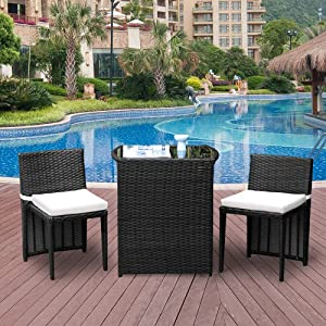 3-Piece Rattan Patio Set, Outdoor Wicker Bistro Set Dining Table with Glass Top and Cushioned Chair Set, Space Saving Convention Set for Yard Garden Porch Balcony, No Assembly Required, Black