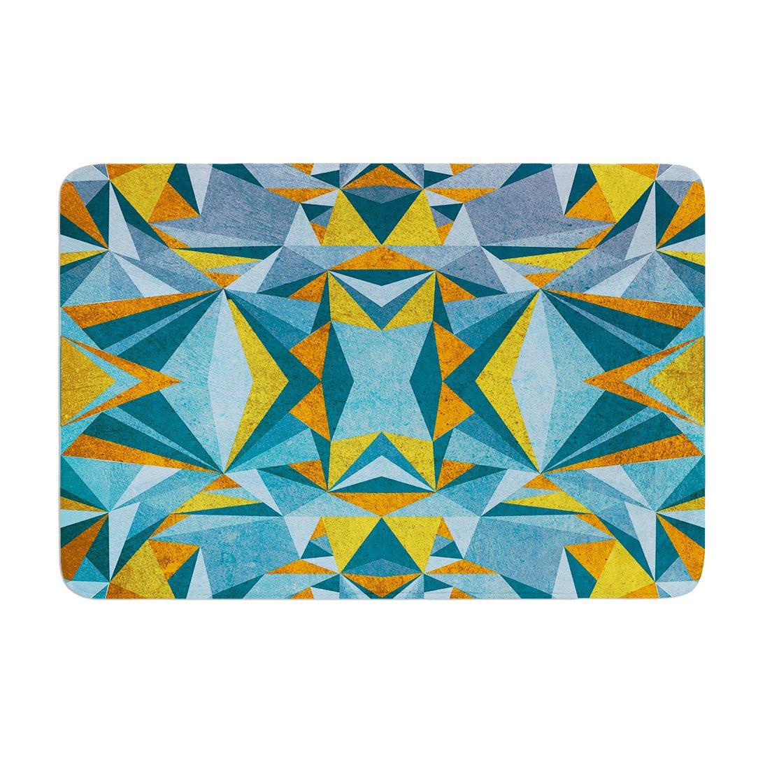 Kess InHouse Nika Martinez Abstraction Blue /& Gold Memory Foam Bath Mat 17 by 24