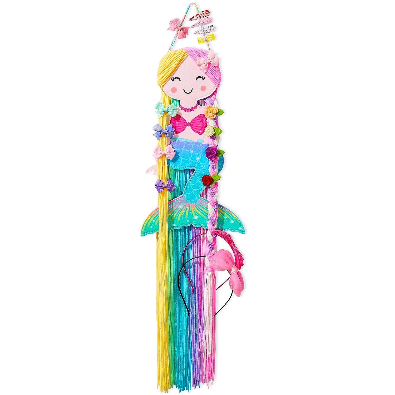 Beinou Hair Bow Holder Organizer for Girls Mermaid Headband Holder Rainbow Yarn Tassels Hair Clip Organizer Storage Mermaid Party Decor Home Decor