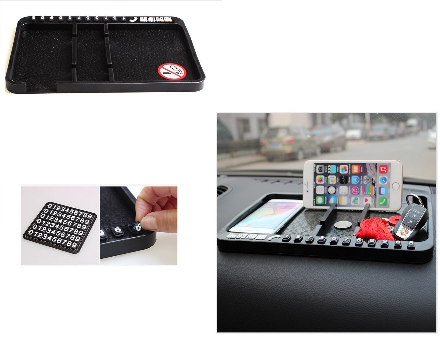 Car Dashboard Anti-skip Staff Units Cell Phone Shelves Tray Double Slots with DIY Phone Number Display LILAUTO