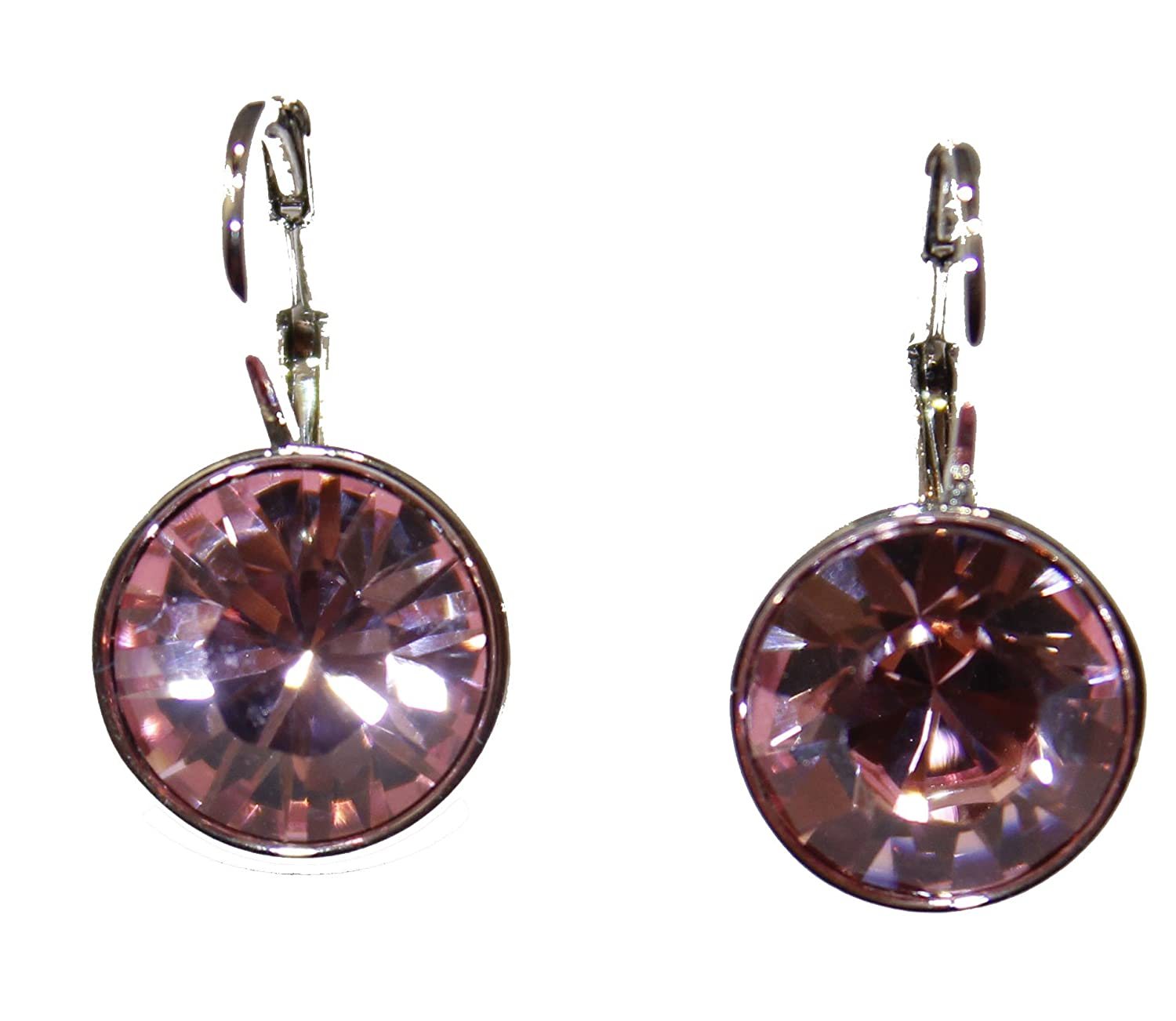 8d5d01bf126c63 Swarovski Elements Pink Bella Earrings Silver Plated Dangle Earrings  Leverback: Amazon.ca: Jewelry