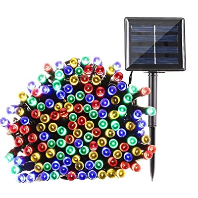 Qedertek 200 LED Solar Powered Christmas Lights, 72ft 8 Modes Fairy Lights Decorative Lighting for Home, Lawn, Garden, Party and Holiday Decorations (Multi Color)