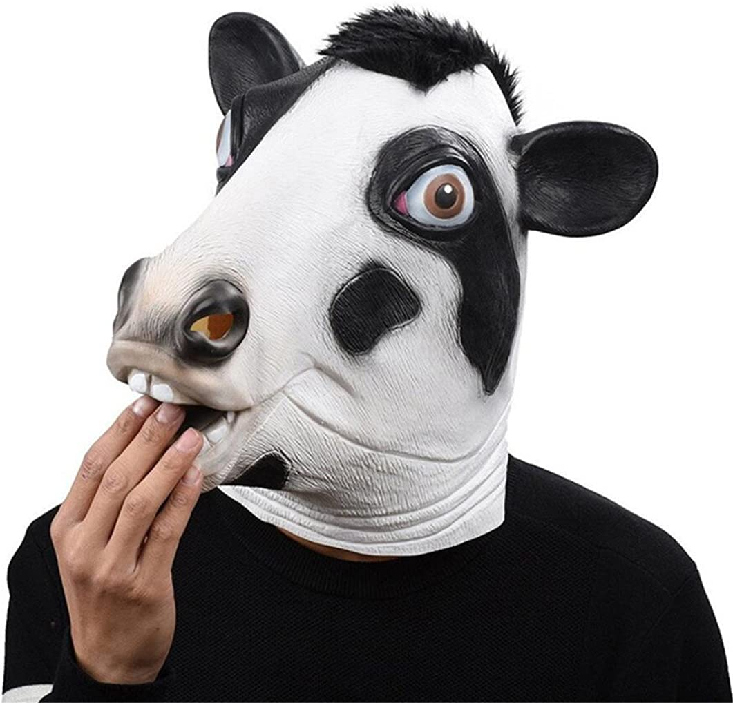 Big Mango Deluxe Novelty Halloween Costume Party Latex Animal Head Mask for Adults&Children (Cow)