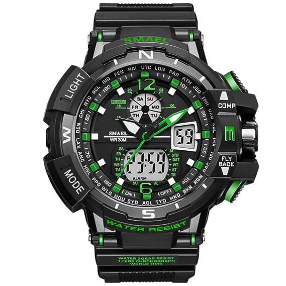 Analógico Digital Reloj Militar reloj deportivo para hombre doble esfera Business Casual multifunción electrónico muñeca relojes
