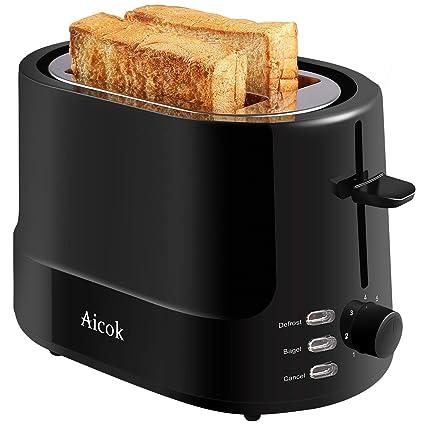 Aicok Tostadora 850 W Tostadora Pan con 2 ranuras anchas y 7 niveles de tostado, Tostadora Automática con Funciones de Descongelar y Recalentar, Pared ...