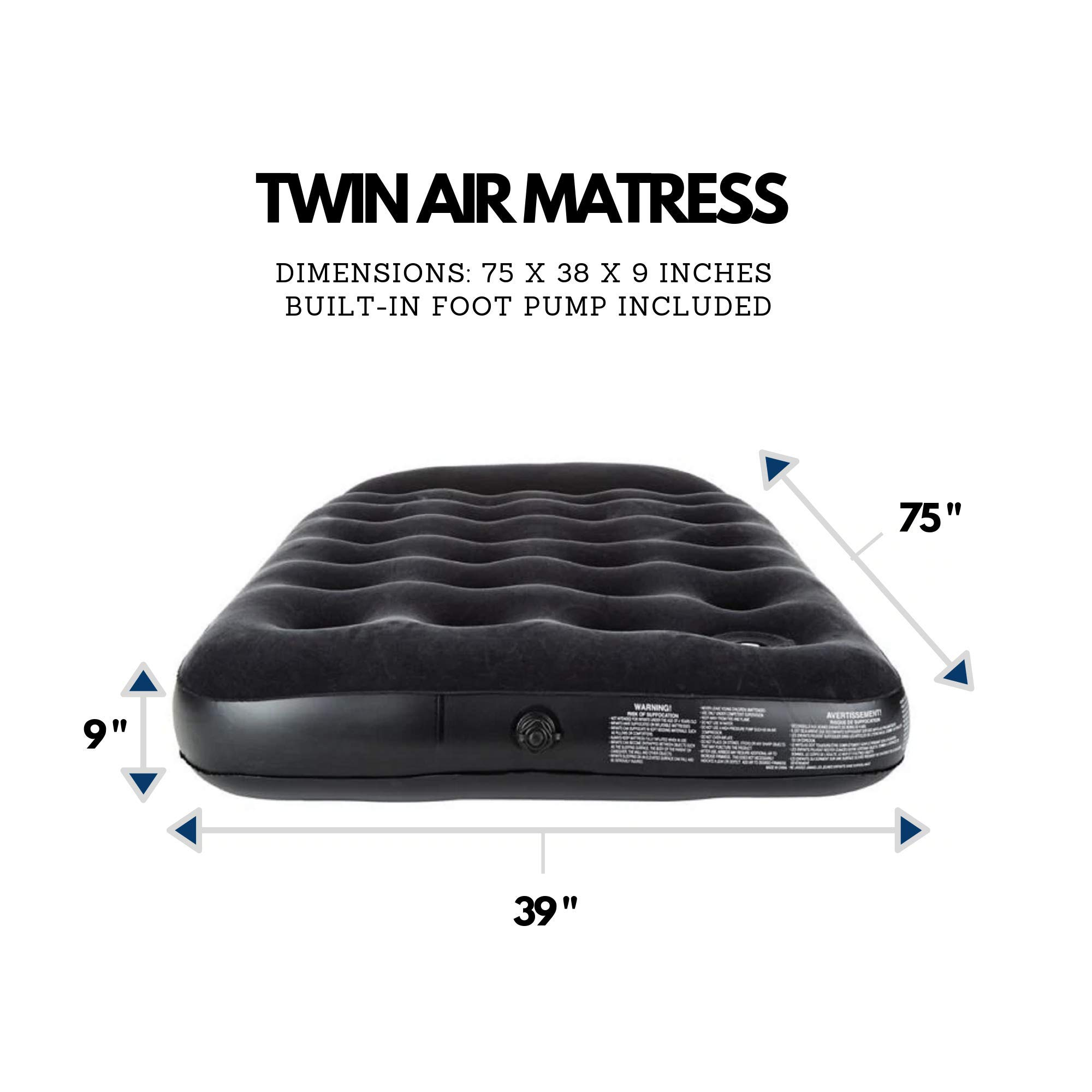 Outbound Twin Inflatable Mattress with Foot Pump /& Pillow Camp Portable Air-Bed