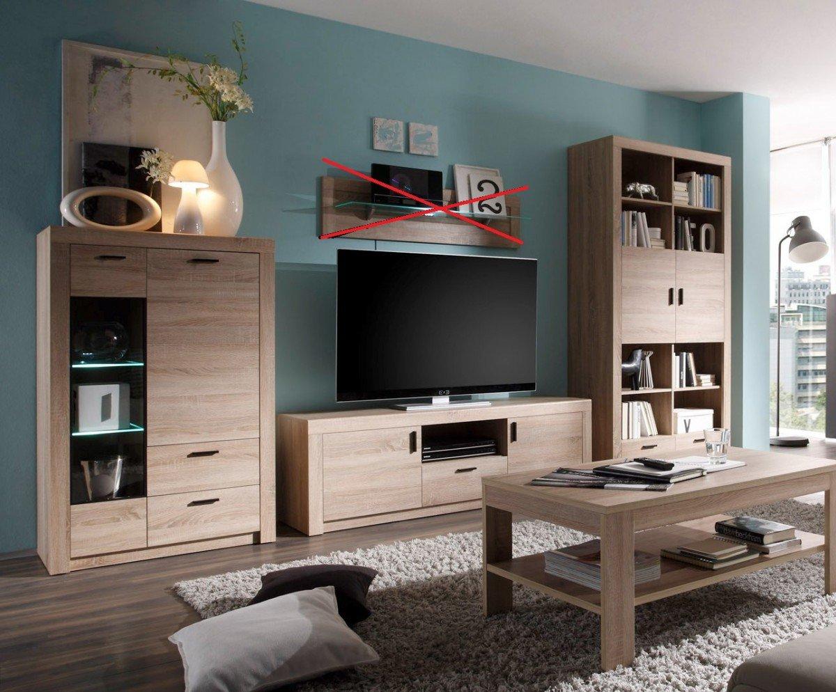 Dreams4Home Wohnzimmer Set U0027Lasou0027   Tisch Mit Ablagefach, Couchtisch,  Regal, Vitrine