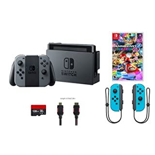 Nintendo Switch 6 items Bundle:Nintendo Switch 32GB Console Gray Joy-con,128GB Micro SD Card Nintendo Joy-Con (L/R) Wireless Controllers Neon Red,Mario Kart 8 Deluxe Mytrix HDMI Cable and Wall Charge