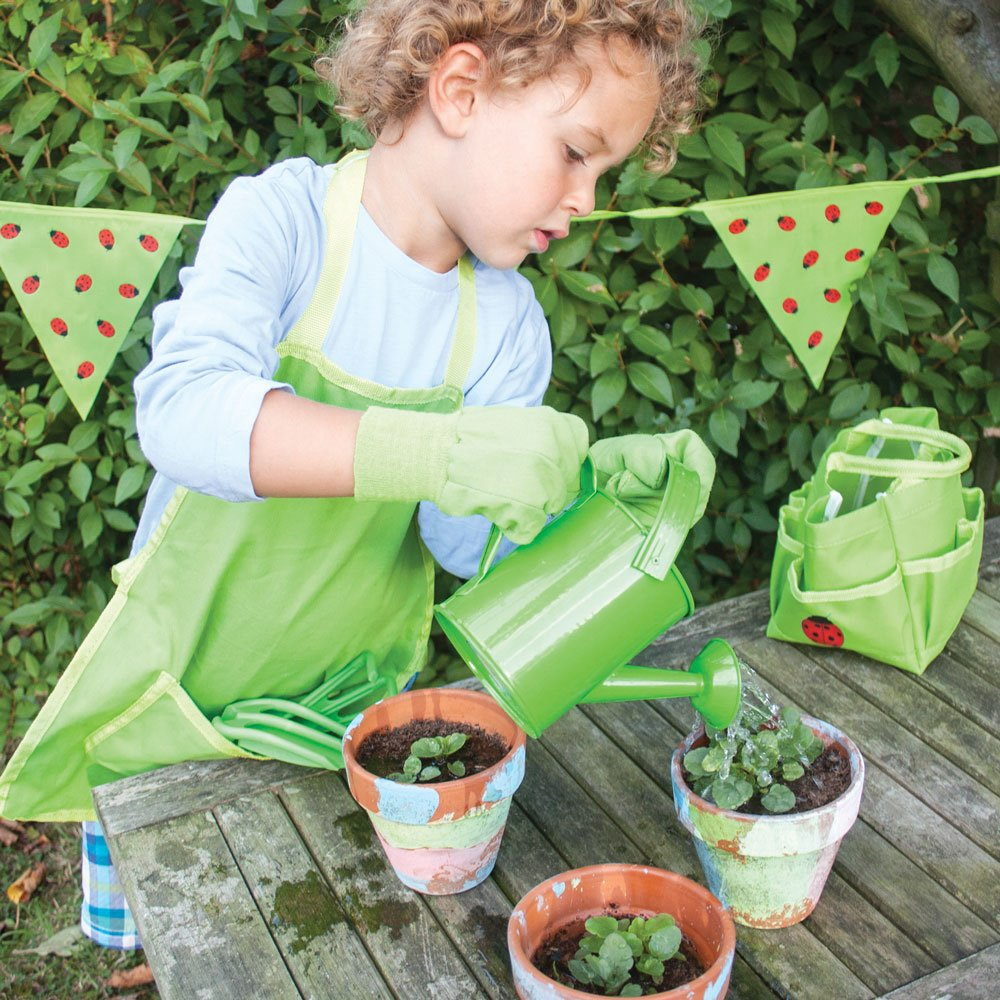 Bigjigs Toys Childrens Small Tote Gardening Bag with Tools Watering Can and Gardening Gloves