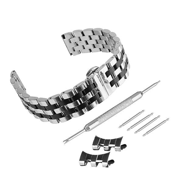 Beauty7 Kits Correas para Relojes de Unisex Mate Acero Inoxidable Cierre Plegado Hebillas Pulsera Correas Reloj Mujeres Hombres Plareado Negro Dorado ...